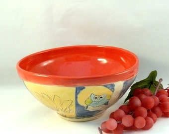 Red Salad Bowl  - Personal size holds 24 ounces , soup bowl salad bowl key bowl serving dish artistic decoration SB157