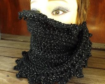 Crochet Scarf, Crochet Infinity Scarf, Crochet Cowl Scarf, Crochet Circle Scarf Black Sparkle Black Scarf, LAUREN, WInter Scarf