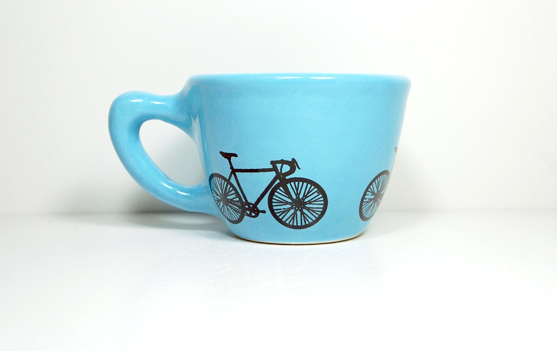 12oz cup in Cloudless with a Road Bike - Made to Order / Pick Your Colour