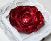 Handmade Red Satin Hair Flower, red flower, hair accessory, brooch, wedding, flower girl, bridesmaids, wedding sash, international shipping