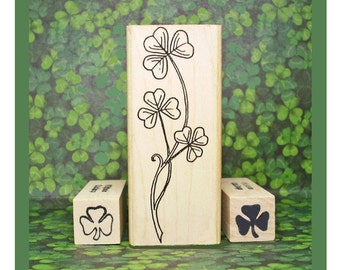 Irish Shamrocks Rubber Stamp Set of 3 St Patrick's Day Symbol of Ireland