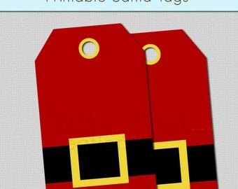 Printable Santa Tags Instant Download Christmas Gift Tags Santa Hang Tags