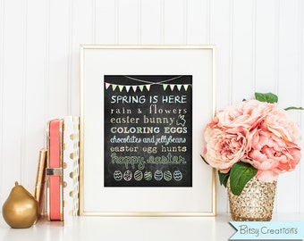 Easter Chalkboard Subway Art Printable Wall Art by BitsyCreations Instant Download