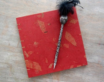 7.5x7.5 Red Wedding Guest Book, unlined pages, Ready to Ship