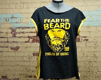 Womens Beard Shirt Fear the Beard Tunic Plus Size XL XXL Rockabilly Black Gold Yellow Cap Sleeve Recycled Upcycled