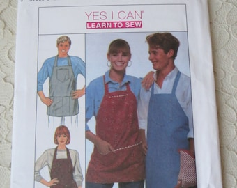 Simplicity Crafts Pattern 9361 Everybody Apron with Pockets One Size Men & Women Learn To Sew OOP