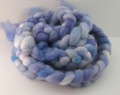 Mini Semi-Solids, 1 oz. - PERIWINKLE - Hand Dyed Merino Wool Combed Top Roving, Spinning Fiber Kettle Painted Scrap Needle Felting Braid