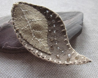 Fawn Taupe Beaded Fabric Leaf Brooch