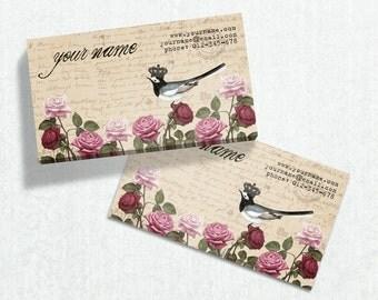 Business Cards  Custom Business Cards  Personalized Business Cards  Business Card Template  Vintage Business Cards  Bird Business Card V8