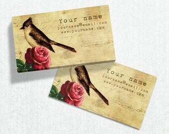 Business Cards  Custom Business Cards  Personalized Business Cards  Business Card Template  Vintage Business Cards  Bird Business Card V13