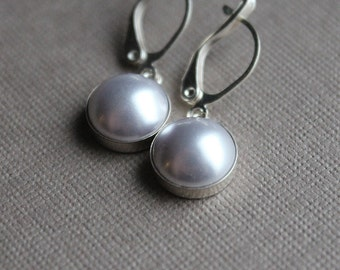 Swarovski Pearl Earrings - Sterling Silver - Leverback Earwires - Lavender or Black