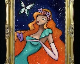 Bohemian Boho Woman Art Print, Renaissance Art, Butterfly Home Decor, Elegant Wall Hanging, Fashion Illustration, Colorful Artwork, SHANO