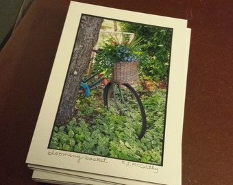 755 D45 5x7 Matted Blooming Basket Bike Signed Photography Photograph Print