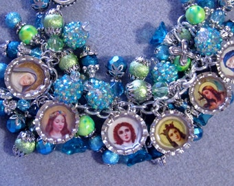 Handmade Catholic Saints Loaded Charm Bracelet Lime Teal Green Blue & Earrings