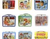 Retro Lunchbox Magnet - Sesame Street, Six Million Dollar Man, Smurfs, Sleeping Beauty, Snoopy, Skateboarder, Secret Agent