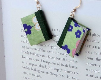 Mini Book Earrings, Sakura Moss Book Earrings- gold