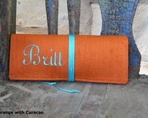 Jewelry Roll Silk Dupioni Custom Medium with Satin Cord Tie