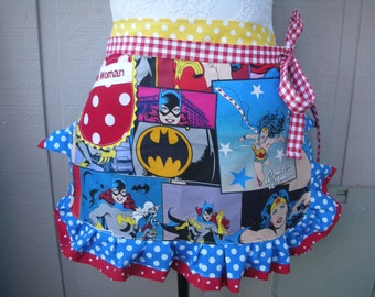 Wonder Women Aprons - Monogrammed Wonder Woman Aprons - Bat Girl - Super Girl Half Apron - Superwomen Hero Apron - Annies Attic Aprons