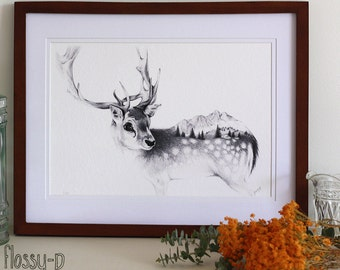 Reindeer Drawing, Art Print, by flossy-p