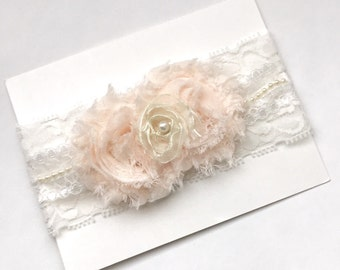 Boutique.. SHABBY CHIC... Lace and pearls HEADBAND