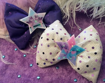 Animal Pals Purple and White Hair Bows