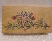 Cherub Vine Leaves Flower Rubber Stamp . Destash Supplies