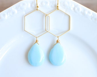 Gold Hexagon with Light Blue Teardrop. UNC Dangle Earrings.