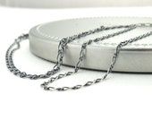 Sterling Silver Necklace Chain 1.5mm Curved Figaro Oxidized Light Weight Silver Chain Interchangeable for Add On Pendants and Charms