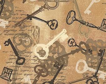 1 Yard KEYS by Whistler Studios Windham Fabrics Tan Gold