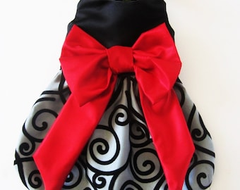 Dog Dress Holiday Party Dress BlackVelvet Swirls with a Red Bow Chihuahua ShihTzu Yorkie Christmas