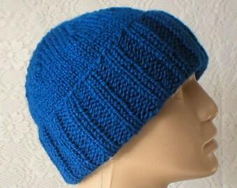 Royal blue watch cap, slouchy hat, brimmed beanie, biker runner hiker, winter, toque, ski snowboard hat, blue hat, mens womens hat, chemocap