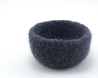 Felted wool bowl - mini felt bowl - color block bowl - charcoal and moss