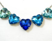 Ocean Blue Hearts Necklace - 5 Large Crystal Sapphire Color Love Necklace