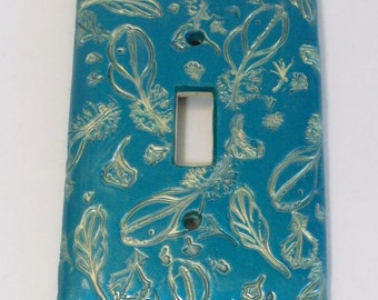 Peacock pearl feather single light switch cover