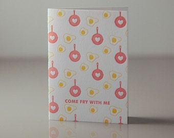 Letterpress Fried Egg Card