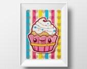 Big Cupcake Cross-Stitch Pattern