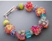 BLACK FRIDAY SALE Tropical Lampwork Bracelet, Flowers, Floral, Boro Lampwork Beads, Pink, Orange, Yellow, Blue, Aqua