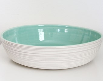 SHOP SALE Large Groove Serving Bowl in Mint Green