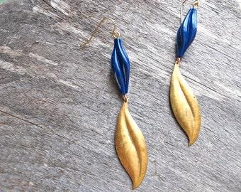 Leaf Dangle Earrings - Brass Charm Earrings - Blue Twist Bead - Leaves Rustic Boho Spring Earrings - Long Brass Leaf Earrings