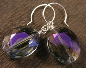 Purple iridescent crystal clear faceted glass earrings, oval beads and silver handmade earrings