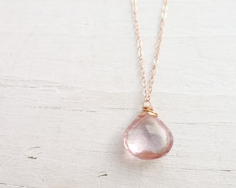 Pink Quartz Pendant Necklace Briolette Charm Necklaces Rose Gold Chain Rosegold Teardrop Jewelry