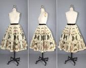 novelty skirt / vintage skirt / 1950s / MORPHO EUGENIA butterfly skirt
