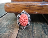 Art Deco Sterling Silver Carved Celluloid Ring - Adjustable