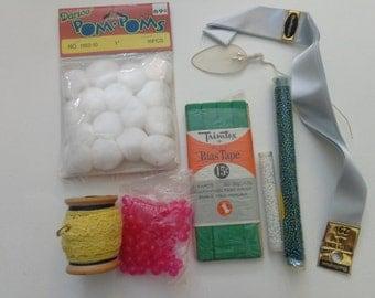 she's so crafty. vintage mini crafty pack. beads, pom poms, lace, thread, ribbon