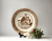 Vintage Norman Rockwell Ceramic Pie Plate Freedom From Want Brown and White Baking Pan