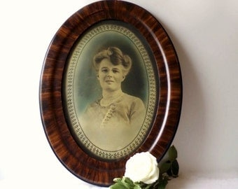 Oval Tiger Wood Frame, Large Framed Photo of Victorian Lady, Woman Portrait Photograph
