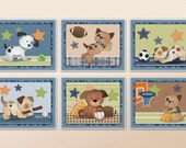 Set of six Bow Wow Puppy Buddies Nursery Art Prints in the size of your choice. Dog and Sports Wall Art