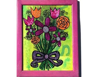 Flower Bouquet - Original Mixed Media Collage Art, flowers artwork, floral lover gift, bright green, pink, purple, girls room wall art decor