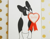 Valentine's Day Lola the Boston Terrier Dog XOXO Heart Badge Felt Applique  Ribbon Note Card with Envelope