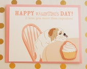 Valentine's Day I Love You More Than Cupcakes English Bulldog Felt Applique Note Card with Envelope